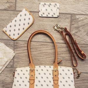 Dooney & Bourke White Monogram Signature Satchel